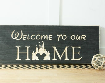 Disney Welcome Home Carved Wooden Sign - 10x22 Carved Rustic Housewarming Wood Sign