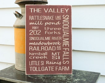 Snoqualmie Valley Landmark Places Carved Wood Subway Sign  - 12x18 Carved Engraved Shabby Chic Distressed Wooden Sign