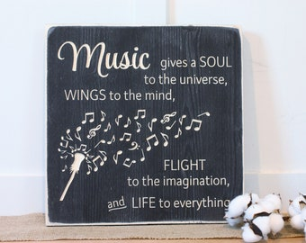 Music Gives Life | 16x16 Music Teacher Appreciation Gift | Music Notes Imagination | Carved Rustic Distressed Wooden Sign