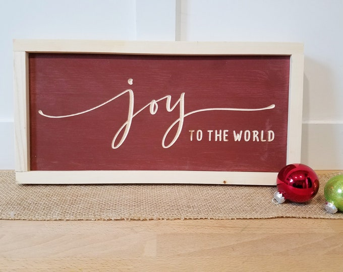 Featured listing image: IN STOCK | Joy to the World | 8x16 Christmas Carved Farmhouse Wood Sign | Rustic Wooden Sign with Frame