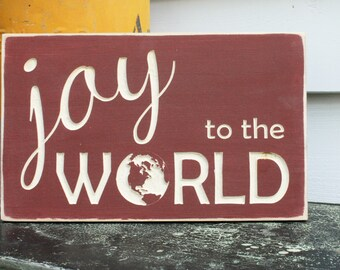 Joy To The World Christmas Wood Sign Christmas Sign Cottage Primitive Decor - Carved Engraved Shabby Chic Wooden Distressed Holiday Sign