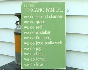 In This House We Do Rules Family Rules with Last Name - 16x24 Personalized Carved Engraved Distressed Wooden Sign