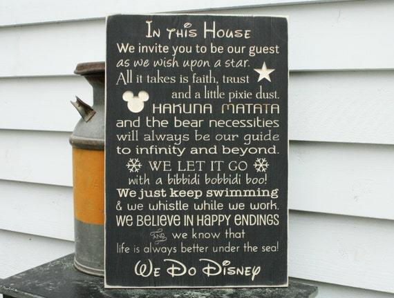 Disney Rules with Castle In This House We Do Disney House Rules Family Rules Rustic Wood Sign 16x24 Carved Rules Sign