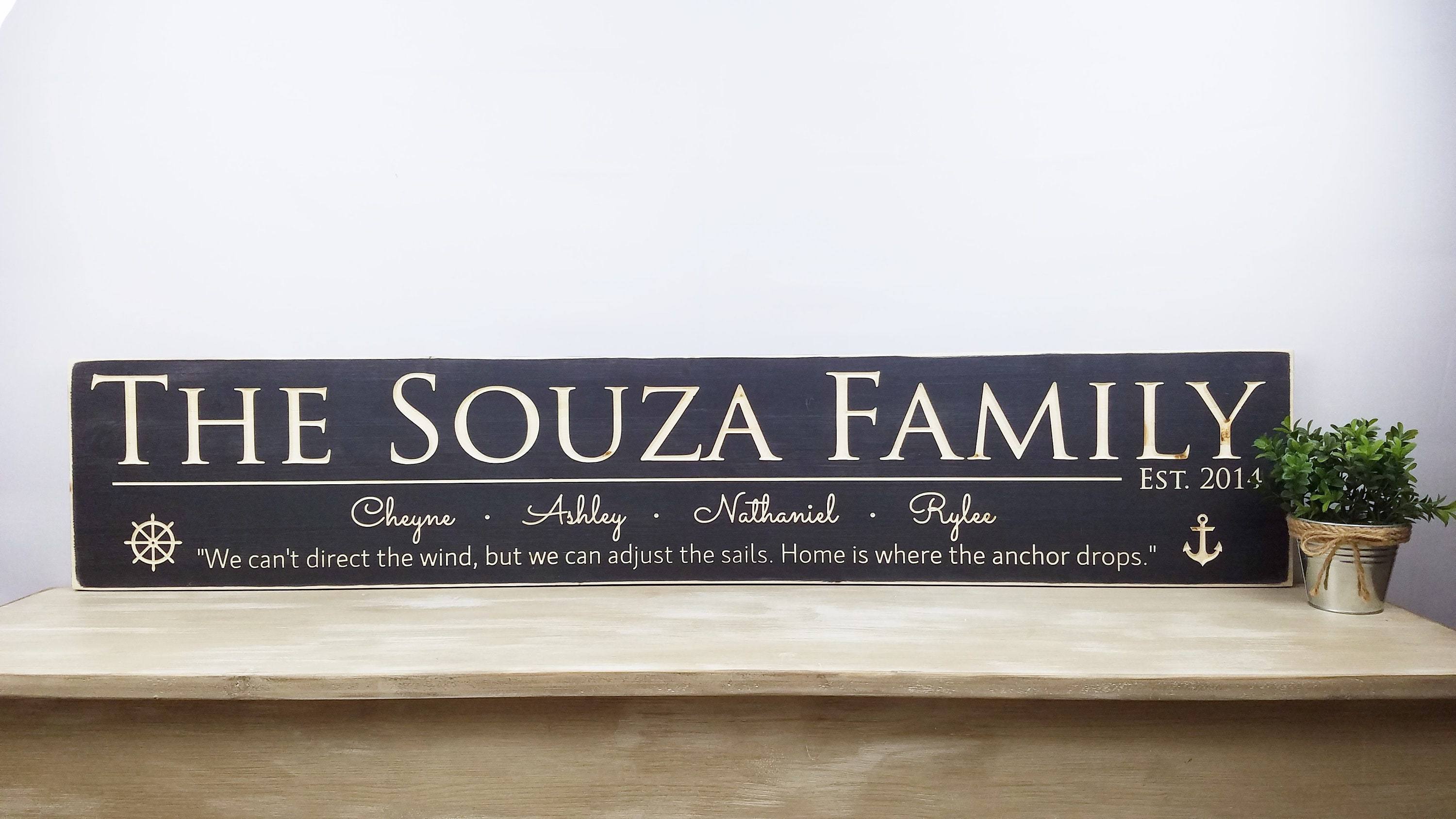fb903fadef43b Large Last Name Sign with First Names & Quote | 10x48 Carved Last ...