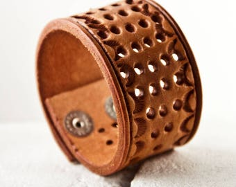 Tooled Leather Bracelet Brown Leather Jewelry