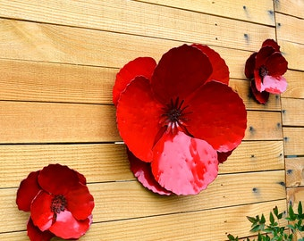 Giant Wall Hanging Poppy - Set of 3 Red Metal Flowers - Perfect Wall or Privacy Fence Accent - outdoor metal wall art - huge outdoor flowers & Outdoor metal wall art | Etsy