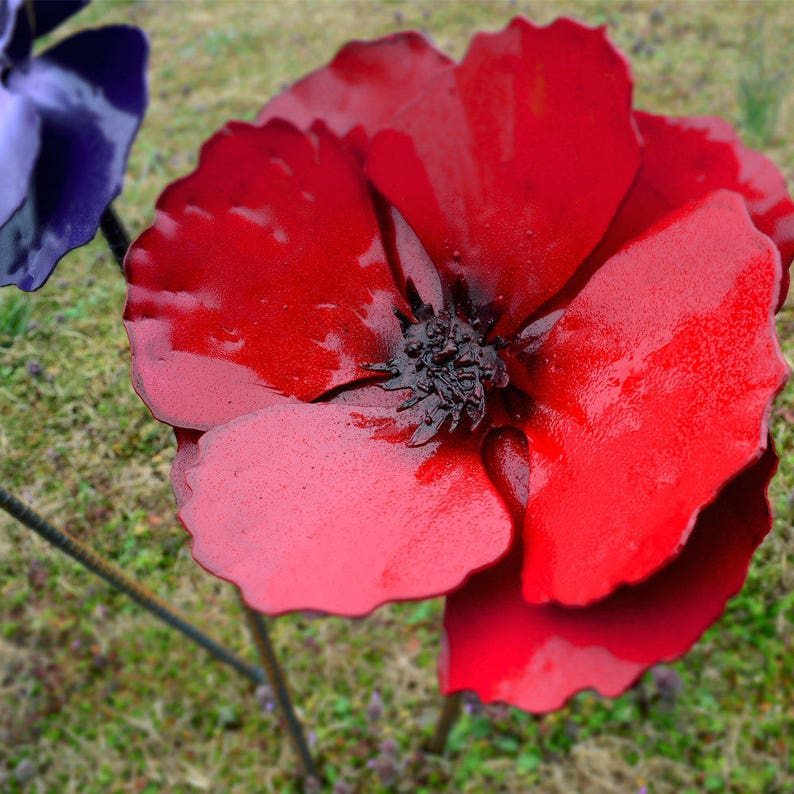 Poppy Flower Stake Poppy Flowerbed Decor Strong Metal Yard Etsy