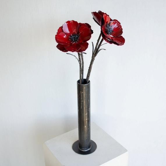 Metal poppy flower arrangement Industrial flower bouquet | Etsy
