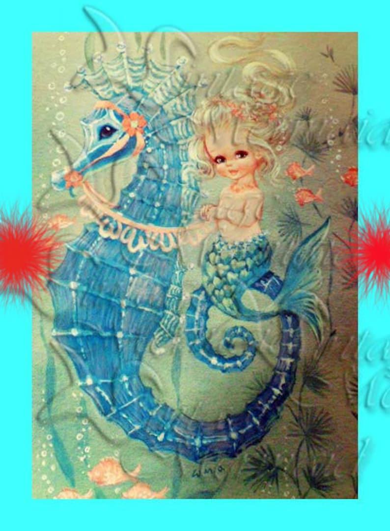 Vintage Mermaid Fabric 1950 S Retro Baby Mermaid Quilt Etsy
