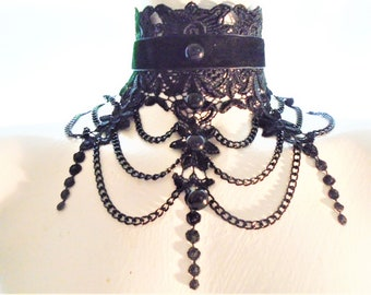 MORTICIA Gothic Jewelry Witch Necklace Vampire Rhinstone Choker Victorian Necklace Gift for bridal Black Choker Necklace