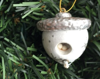 Acorn Birdhouse  Christmas Ornament