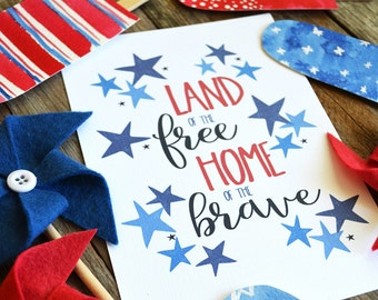 July 4th, America, USA, Land of the Free Home of the Brave, Fourth of July, Independence Day, Summer Decor, Red White and Blue, Art Print