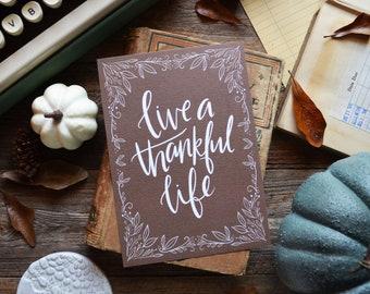 Live a Thankful Life, Fall is my favorite, Happy Fall, Hello Autumn, seasonal Decor, Welcome Fall, Illustration, Autumn Leaves, art print