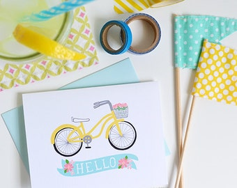 Hello Bicycle Floral, Set of FOUR Floral Folded Note Cards, Yellow Bike, Stationery, Hand Drawn, Illustration, Flowers, Flora, Notecards