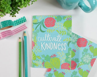 Cultivate Kindness set of two pocket notebooks, Jotter, small notepad, Teacher Gift, Teen Girl Gift, cactus, succulent, list maker, note pad