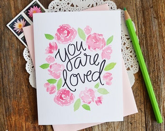 Valentine, You are loved, Sweet floral Valentines Day Card, Stationery, Hand Drawn, Illustration, Holiday, Notecards, Greeting Cards