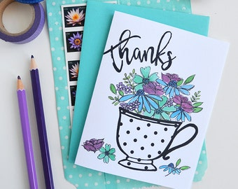Thanks a bunch, Thanks, Thank you, Tea cup, Watercolor, Floral, Flowers, Garden, Spring, Illustration, Greeting Card, Handlettered