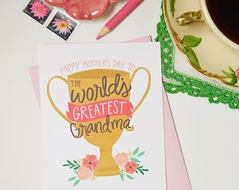 Happy Mother's Day to the World's Greatest Grandma, Mother's Day Card Funny Floral, Best Grandma Ever, Greeting Card, Unique, Grandmother