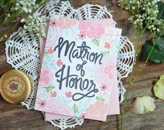 Matron of Honor Card, Wedding Party Card, Floral Wedding, Thank You Card, Greeting Card, Notecard, Floral Notecards, Bridal Party, Note Card