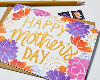 Happy Mother's Day, Mother's Day Card Floral, Watercolor flowers, Pretty, Hand-lettered, Greeting Card, Hand Drawn, Illustration, Flowers