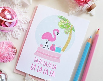 Flamingo Snow Globe Fa-la-la-la-la, seasonal Greeting Card, Christmas, Stationery, Hand Drawn, Illustration, Holiday card, Pink Christmas