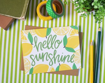 Hello Sunshine, Lemons, Spring card, Summer Vibes, Sunny, Fun Stationery, hello spring, Happy Summer, greeting card, just because friendship