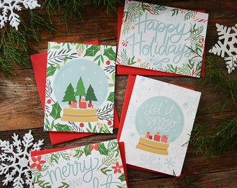 Set of four Christmas cards, Let it snow, Merry and Bright, Happy Holidays, Snow Globe, Holiday Cards, Holly, Mistletoe, Merry Christmas