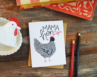 Mama Hen, Happy Mother's Day, Chicken Mama, Mother's Day Card, Greeting Card, Hand Drawn, Mom, Mama, Momma, Farmhouse, Expecting Mom, Farm