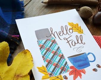 Happy Fall, Hello Autumn, Vintage Thermos, Plaid, Seasonal Decor, Welcome Fall, Illustration, Autumn Leaves, Fall Decoration, Art Print