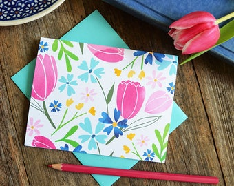 Set of four Spring Notecards, Happy Spring, Pretty Floral cards, Seasonal Note Cards, Watercolor, Tulips, Bridesmaids Gift, Stationery