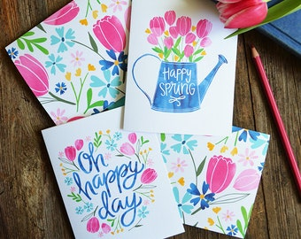 Set of four Spring Notecards, Oh Happy Day, Happy Spring, Seasonal Note Cards, Watercolor, Tulips, Watering Can, Garden lover, Stationery