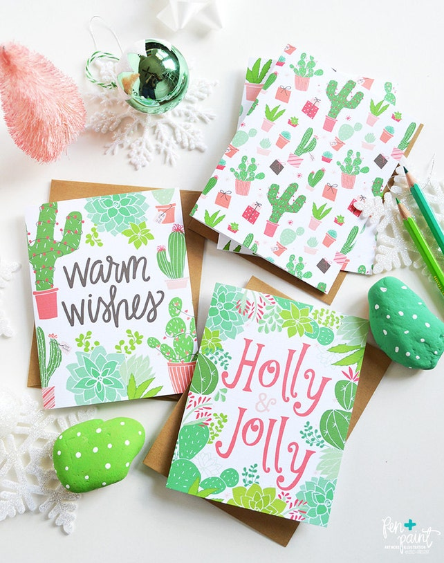 Warm Wishes, Holly & Jolly, Set of Four, Christmas cactus, Seasonal Folded Note Cards, succulents, Christmas, Stationery, Hand Drawn