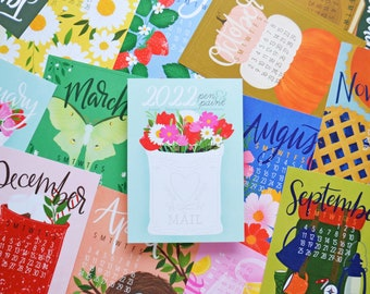 2022 calendar, REFILL only, DOUBLE Sided, 5x7 Mini Calendar, Illustrated, Colorful, Planner, Wall Calendar, Desk Calendar, Hand drawn