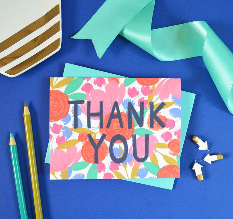 Notecards Thank you Flowers Garden Greeting Card Floral Thank you card Abstract flowers Spring Painted Flowers colorful bright
