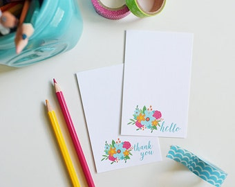 Thank You and  Hello Mini Cards, Mini Note cards, Gift tags, floral, flowers, bouquet, 2.75 x 4.25 inches