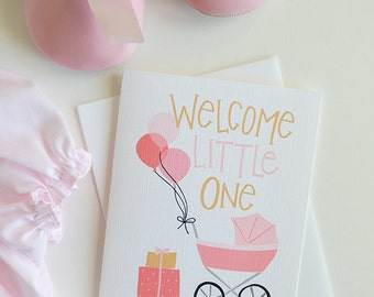 Welcome Little One, It's a Girl, Baby Shower, Baby gift, Baby Girl, Illustration, Note card, Greeting Card, Handlettered, Pink Balloons