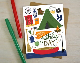 Happy Father's Day, Adventure, Outdoorsy, Camping, Hiking, Fishing, Father's Day card, Happy Father's Day