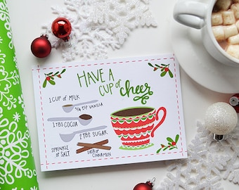 Have a cup of cheer, hot chocolate recipe, Christmas Decor, Happy Holidays Holiday Decor Merry Christmas, Illustration, Art Print, 5x7, 8x10