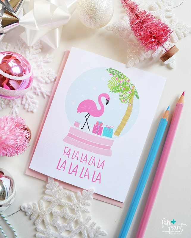 Flamingo Snow Globe Fa-la-la-la-la, seasonal Greeting Card, Christmas, Stationery, Hand Drawn, Illustration, Holiday card, Pink Christmas