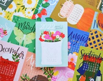 2022 Calendar, REFILL only, SINGLE Sided, Desk Calendar, 5x7 mini calendar, Gifts Under 20, Planner, Wall Calendar, Illustration, Hand drawn