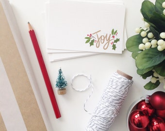 Joy, Christmas, Holiday Gift tags, Mini Cards, Mini Note cards, Joy to the World, Love and Joy, 2.75 x 4.25 inches