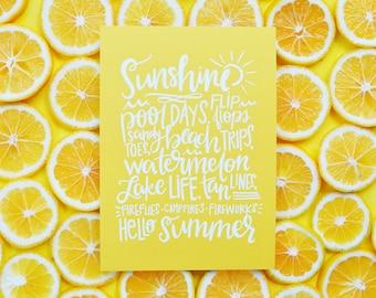 Hello Summer, Yellow, Summer Vibes, Sunshine, Ocean, Lake, Beach, Pool, Art Print, Handlettered, Waves summer favorites Live in the sunshine