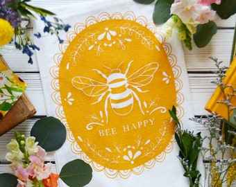 Bee Happy, Honey yellow, Kitchen towel, Honey Bee, Mother's Day Gift, House, Tea Towel, dish towel, gifts under 15, unique mothers day gift