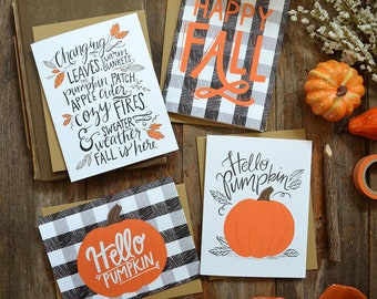 Hello Pumpkin, Fall is here, Happy Fall seasonal Folded Note Cards, Autumn, Stationery, Hand Drawn, Illustration, Greeting Cards, Watercolor