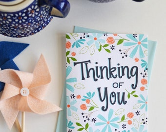 Thinking of you, Sympathy, You are not alone, Floral, Flowers, Garden, Spring, Illustration, Notecards, Greeting Card, Handlettered