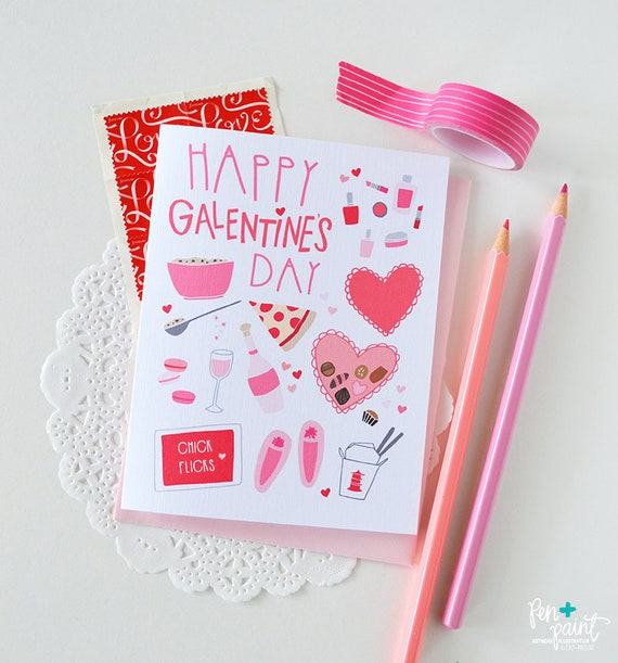 Girl/'s Night Folded Note Cards February 13 Stationery Happy Galentine/'s Day Best Friend Girl stuff BFF Chocolate Heart Wine Pink