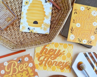 Hey Honey Postcard Set, 8 postcards, Bee sweet, beehive, honeycomb Thinking of you, Summer, Happy Mail, Post card, postcards, planner cards