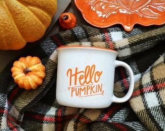 IMPERFECT Fall Mug, Fall Campfire Mug, White Ceramic Mug, Hello Pumpkin, Hand Lettered Mug, Pumpkin Spice, Pumpkin Everything, Happy Fall