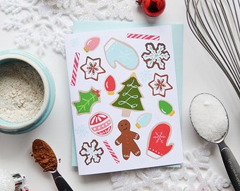 Christmas cookies, seasonal Folded Note Cards, Christmas, Stationery, Hand Drawn, Illustration, Holiday, Greeting Card, Gingerbread cookies