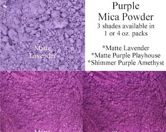 Lavender Mica and Purple Mica Pigment Powder Cosmetic Grade 1 Oz (30 Grams) or 4 Oz, Lavender and Purple Dye For Soap